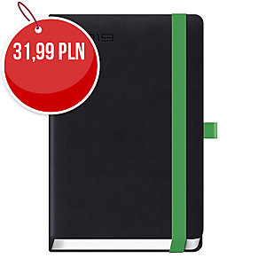 Kalendarz LEDIBERG  LANYBOOK A5, dzienny, czarny z zieloną gumką