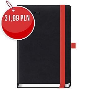 Kalendarz LEDIBERG LANYBOOK A5, dzienny, czarny z czerwoną gumką