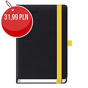 Kalendarz LEDIBERG LANYBOOK A5, dzienny, czarny z żółtą gumką