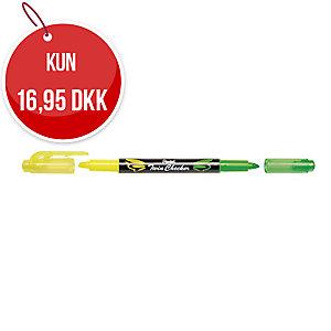 Highlighter Pentel Twin Checker, gul/grøn