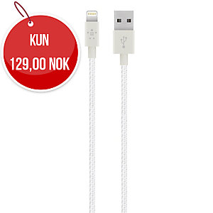 Kabel Belkin Mixit metallic lightning-USB hvit