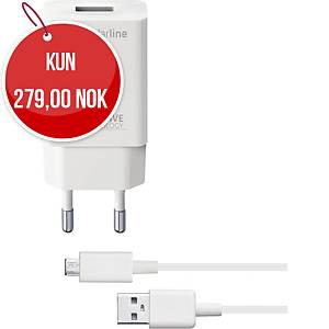 Lader Cellularline Micro USB 15 W, 1 m, hvit