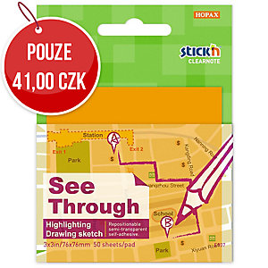 Samolepicí průhledný bloček Clearnote STICK N, 76 x 76 mm, oranžový