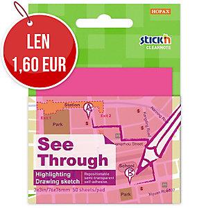 Samolepiace priehľadné bloček Clearnote STICK N, 76 x 76 mm, ružový