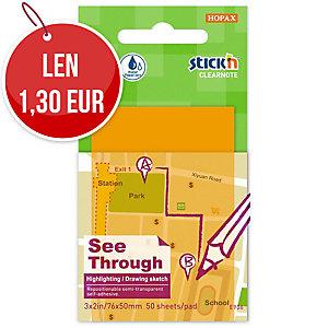 Samolepiace priehľadné bloček Clearnote STICK N, 76 x 51 mm, oranžový
