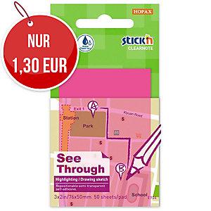 Clearnote S TICK'N selbstklebende transparente Blöcke, 76 x 51 mm, rosa
