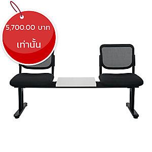 ZINGULAR เก้าอี้นั่งพักคอย รุ่นZR-1005/2TM แบบ2ที่นั่ง มีโต๊ะกลาง สีดำ