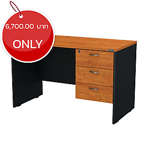 ELEMENTS PDW-1203 OFFICE WOODEN DESK RIGHT DRAWER 120X60X75 CM CHERRY/BLACK