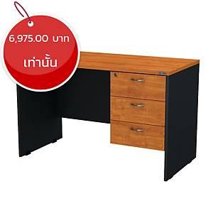 ELEMENTS โต๊ทำงานไม้ แบบลิ้นชักขวา รุ่นPDW-1203 120X60X75 ซม. สีเชอร์รี่/ดำ