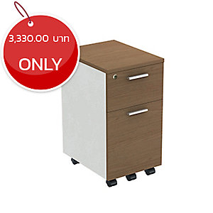 ELEMENTS AP-23457 PEDESTAL CABINET WITH 2 DRAWERS  35X45X57 CM CAPPUCCINO/WHITE