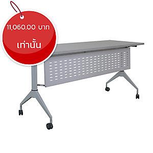 METAL PRO โต๊ะพับชนิดมีล้อ พร้อมบังตา รุ่น LS-718-180PLUS 180X60X75 ซม.