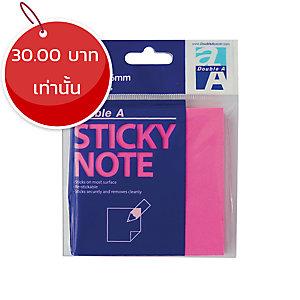 DOUBLE A กระดาษโน้ตชนิดมีกาว 3X3 นิ้ว สีชมพูนีออน