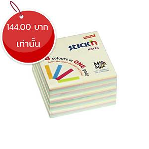 STICKN กระดาษโน้ตชนิดมีกาว รุ่น 21574 3X3 นิ้ว คละสีพาสเทล แพ็ค 4+1