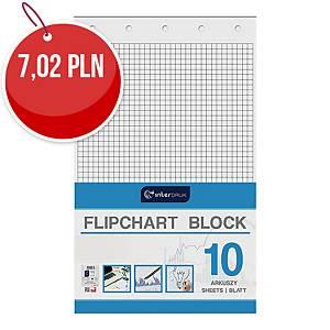 Blok do flipchartów INTERDRUK biały, w kratkę, 10 kartek