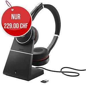 Headset Jabra Evolve 75 UC Duo/Stereo, inkl. Ladestation, Bluetooth