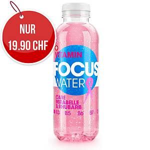 Vitaminwasser Focus Water, Mirabellen & Rhabarber, Packung à 12 Flaschen