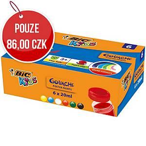 Kvašové barvy Bic, mix 6 barev v kalíšcích po 20 ml
