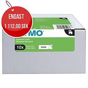 Märkband Dymo D1, 9 mm, vitt/svart, förp. med 10 kassetter