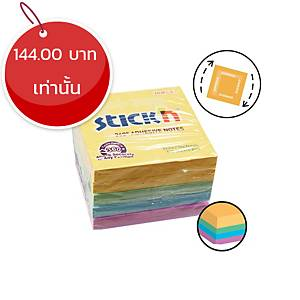 STICKN กระดาษโน๊ต 360 องศา 4+1 3X3 นิ้ว 4 สี