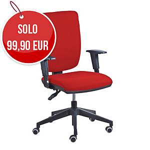 Sedia Comfort con meccanismo BackSystem regolabile e braccioli - rosso