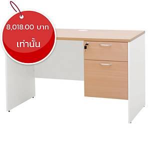 SIMMATIK โต๊ะทำงานไม้พร้อมลิ้นชัก 2 ชั้น L-WK140DA สีบีช/ขาว