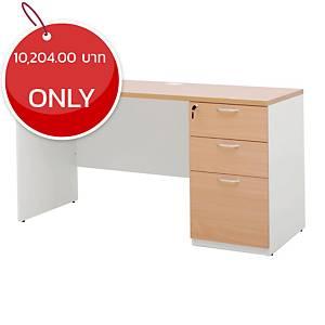 SIMMATIK L-WK140DW-3 Office Table Beech/White