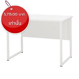 SIMMATIK โต๊ะทำงานไม้ขาเหล็ก L-QU100W 100X60X75 ขาว