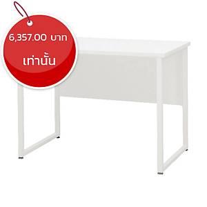 SIMMATIK โต๊ะทำงานไม้ขาเหล็ก L-QU120W สีขาว