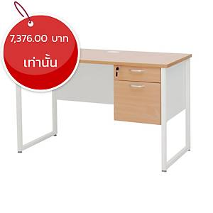 SIMMATIK โต๊ะทำงานไม้พร้อมลิ้นชัก 2 ชั้น L-QU120DA สีบีช/ขาว