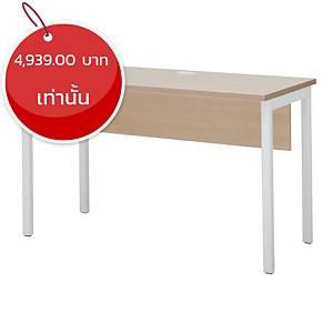 SIMMATIK โต๊ะทำงานไม้ขาเหล็ก L-TR120 สีโอ๊ค/ขาว