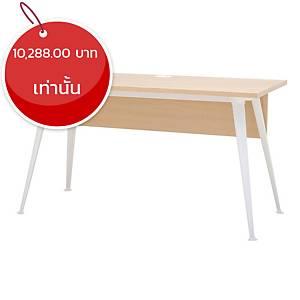 SIMMATIK โต๊ะทำงานไม้ขาเหล็ก L-OV140 สีโอ๊ค/ขาว