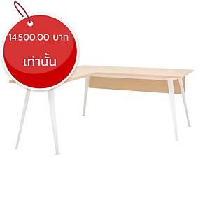 SIMMATIK โต๊ะผู้บริหาร L-OV160R สีโอ๊ค/ขาว