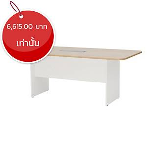 SIMMATIK โต๊ะประชุมไม้ L-MTW180 180X90X75 ซม โอ๊ค/ขาว
