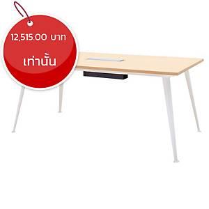 SIMMATIK โต๊ะประชุมไม้ L-MT-OV160 160X90X75 ซม โอ๊ค/ขาว