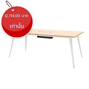 SIMMATIK โต๊ะประชุมไม้ L-MT-OV200 200X90X75 ซม โอ๊ค/ขาว
