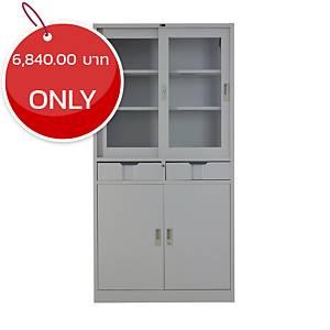 METAL PRO MET-Y24 Steel Slide & Swing Door Cabinet Grey