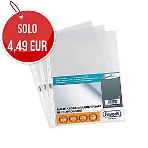 C100 BUSTE FAVORIT AIR A PERFORAZIONE UNIVERSALE 22X30CM ANTIRIFLESSO