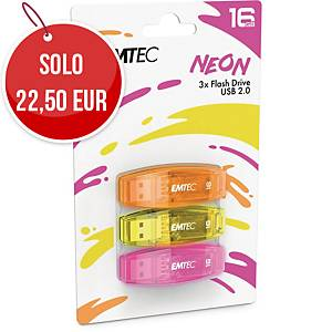 Memoria USB Emtec Color Mix C410 16 GB colori neon - conf. 3