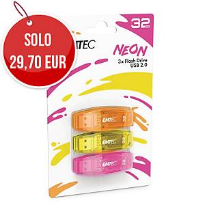 Memoria USB Emtec Color Mix C410 32 GB colori neon - conf. 3