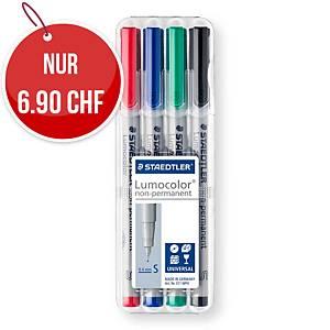 Faserschreiber Staedtler 311WP4 Lumocolor, S, wasserlöslich, 4er-Set