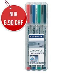 Faserschreiber Staedtler 316WP4 Lumocolor, F, wasserlöslich, 4er-Set