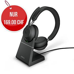 Headset Jabra Evolve2 65 MS Duo/Stereo, inkl. Ladestation, Bluetooth