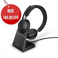 Headset Jabra Evolve2 65 UC Duo/Stereo, inkl. Ladestation, Bluetooth