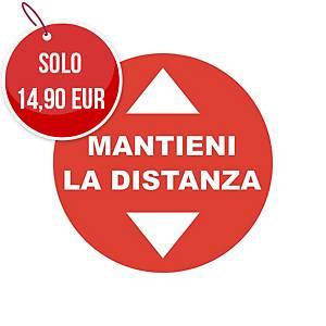 """Bollo adesivo calpestabile antiscivolo  MANTIENI LA DISTANZA"""" – conf. 2"""