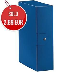 Cartella portaprogetto Esselte Eurobox cartone con bottone dorso 10 cm blu