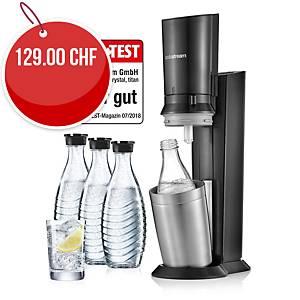 Machine à eau gazeuse SodaStream Crystal, 615ml, 3 bout. en verre incluses, noir