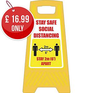 Free Standing Social Distance Yellow Free Standing Floor Sign