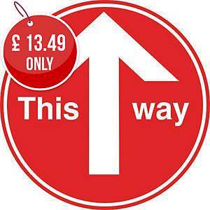 This Way Pack Of 2 - Red Floor Marking With Anti-Slip Laminate