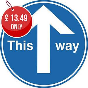This Way Pack Of 2 - Blue Floor Marking With Anti-Slip Laminate