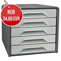 Cep Smoove Schubladenbox, 5 Schubladen, Maße 36 x 28,8 x 27 cm, anthrazit-grau